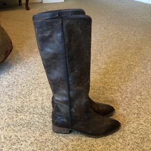 Frye brown tall distressed leather tall boots 7.5